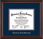 Image of Louisiana Tech University Diploma Frame - Mahogany Lacquer - w/Laser Etched School Name Only - Navy on Red mat