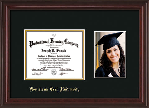 Image of Louisiana Tech University Diploma Frame - Mahogany Lacquer - w/Laser Etched School Name Only - w/5x7 Photo Opening - Black on Gold mat