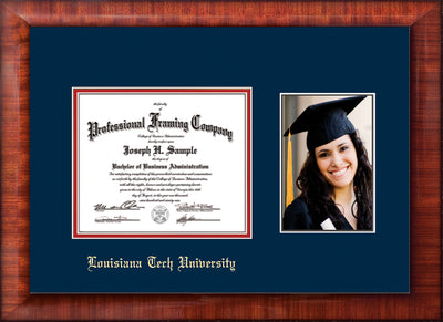 Image of Louisiana Tech University Diploma Frame - Mezzo Gloss - w/Laser Etched School Name Only - w/5x7 Photo Opening - Navy on Red mat