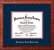 Image of Louisiana Tech University Diploma Frame - Mezzo Gloss - w/Laser Etched School Name Only - Navy on Red mat