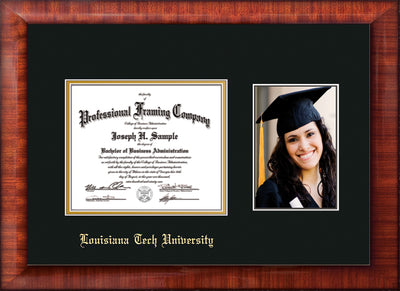 Image of Louisiana Tech University Diploma Frame - Mezzo Gloss - w/Laser Etched School Name Only - w/5x7 Photo Opening - Black on Gold mat