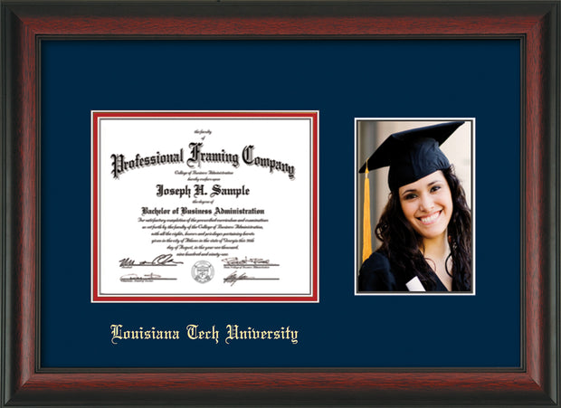 Image of Louisiana Tech University Diploma Frame - Rosewood - w/Laser Etched School Name Only - w/5x7 Photo Opening - Navy on Red mat