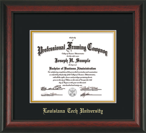 Image of Louisiana Tech University Diploma Frame - Rosewood - w/Laser Etched School Name Only - Black on Gold mat