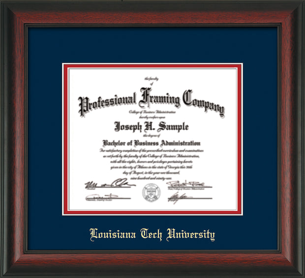 Image of Louisiana Tech University Diploma Frame - Rosewood - w/Laser Etched School Name Only - Navy on Red mat