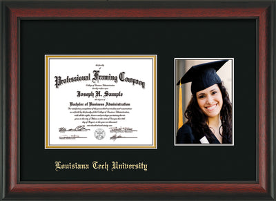 Image of Louisiana Tech University Diploma Frame - Rosewood - w/Laser Etched School Name Only - w/5x7 Photo Opening - Black on Gold mat