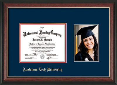 Image of Louisiana Tech University Diploma Frame - Rosewood w/Gold Lip - w/Laser Etched School Name Only - w/5x7 Photo Opening - Navy on Red mat