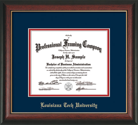 Image of Louisiana Tech University Diploma Frame - Rosewood w/Gold Lip - w/Laser Etched School Name Only - Navy on Red mat