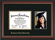 Image of Louisiana Tech University Diploma Frame - Rosewood w/Gold Lip - w/Laser Etched School Name Only - w/5x7 Photo Opening - Black on Gold mat
