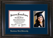 Image of Louisiana Tech University Diploma Frame - Vintage Black Scoop - w/Laser Etched School Name Only - w/5x7 Photo Opening - Navy on Red mat