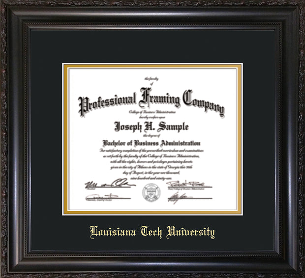 Image of Louisiana Tech University Diploma Frame - Vintage Black Scoop - w/Laser Etched School Name Only - Black on Gold mat
