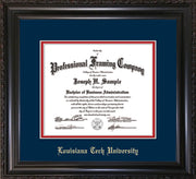 Image of Louisiana Tech University Diploma Frame - Vintage Black Scoop - w/Laser Etched School Name Only - Navy on Red mat