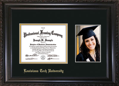 Image of Louisiana Tech University Diploma Frame - Vintage Black Scoop - w/Laser Etched School Name Only - w/5x7 Photo Opening - Black on Gold mat