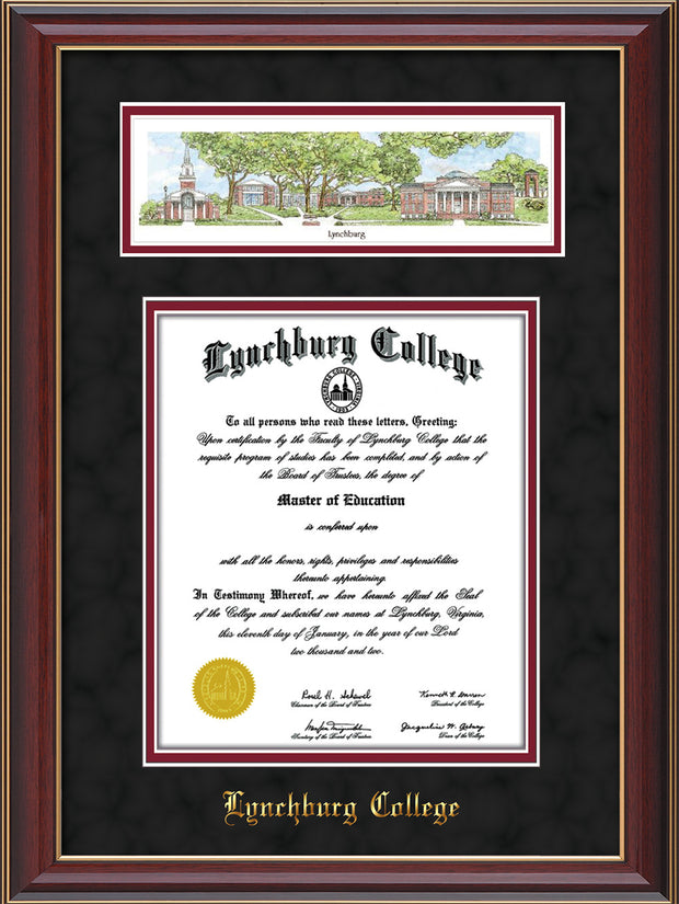 Image of Lynchburg College Diploma Frame - Cherry Lacquer - w/Embossed School Name Only - Campus Collage - Black Suede on Crimson mat