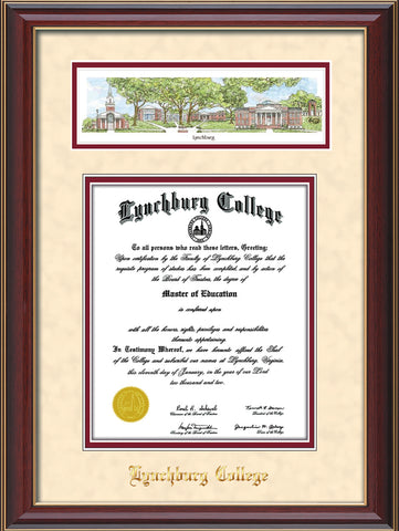 Image of Lynchburg College Diploma Frame - Cherry Lacquer - w/Embossed School Name Only - Campus Collage - Cream Suede on Crimson mat