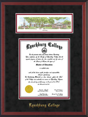 Image of Lynchburg College Diploma Frame - Cherry Reverse - w/Embossed School Name Only - Campus Collage - Black Suede on Crimson mat