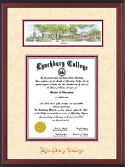 Image of Lynchburg College Diploma Frame - Cherry Reverse - w/Embossed School Name Only - Campus Collage - Cream Suede on Crimson mat