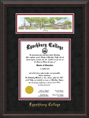 Image of Lynchburg College Diploma Frame - Mahogany Braid - w/Embossed School Name Only - Campus Collage - Black Suede on Crimson mat