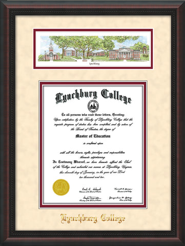 Image of Lynchburg College Diploma Frame - Mahogany Braid - w/Embossed School Name Only - Campus Collage - Cream Suede on Crimson mat
