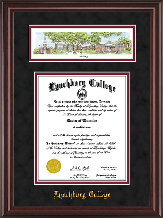Image of Lynchburg College Diploma Frame - Mahogany Lacquer - w/Embossed School Name Only - Campus Collage - Black Suede on Crimson mat