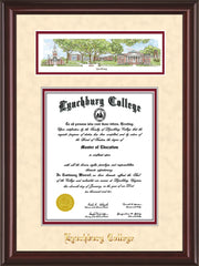 Image of Lynchburg College Diploma Frame - Mahogany Lacquer - w/Embossed School Name Only - Campus Collage - Cream Suede on Crimson mat