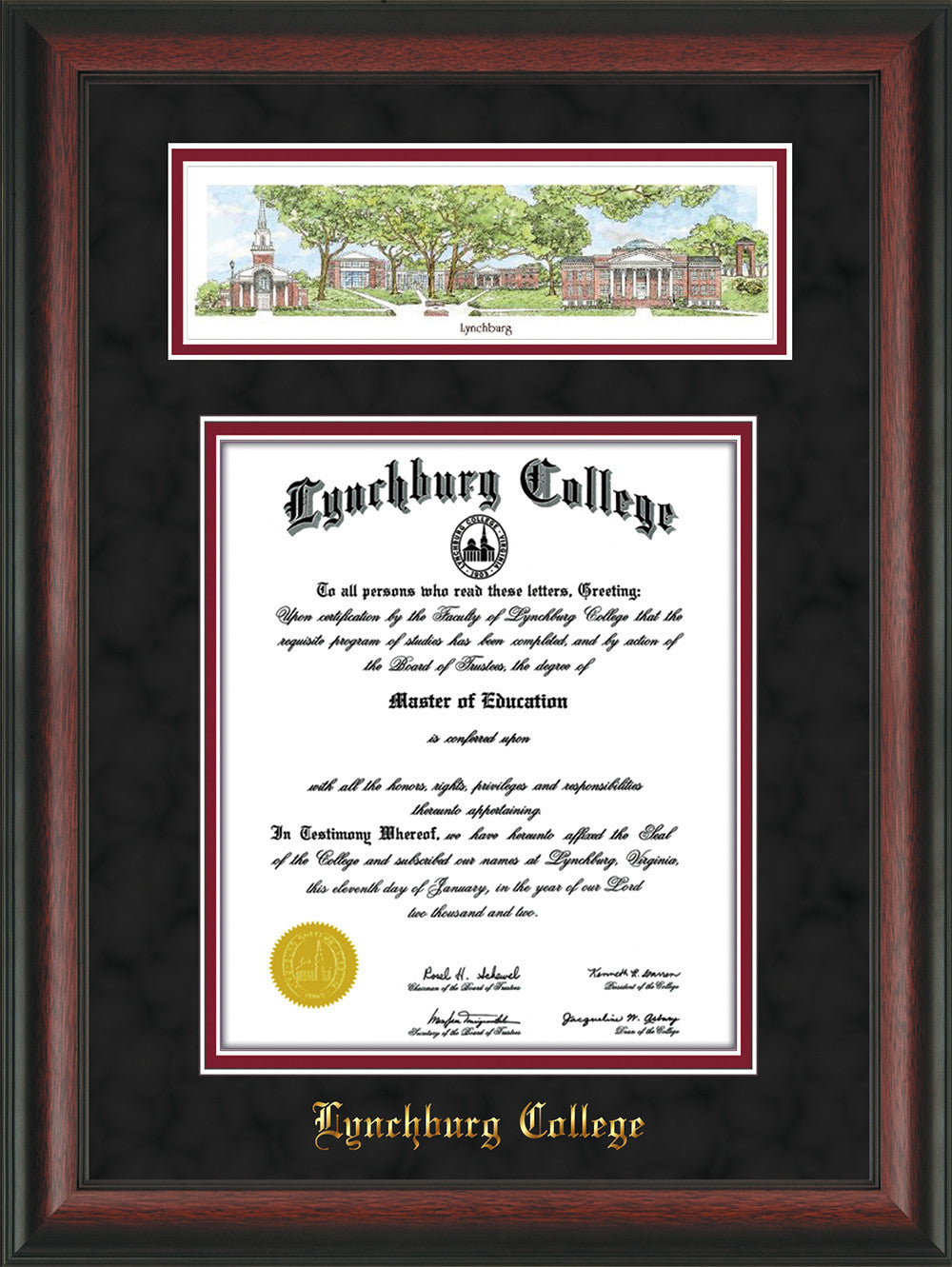 Lynchburg College Diploma Frame-Rosewood-Campus Collage-Black Suede ...