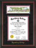 Image of Lynchburg College Diploma Frame - Rosewood - w/Embossed School Name Only - Campus Collage - Black Suede on Crimson mat