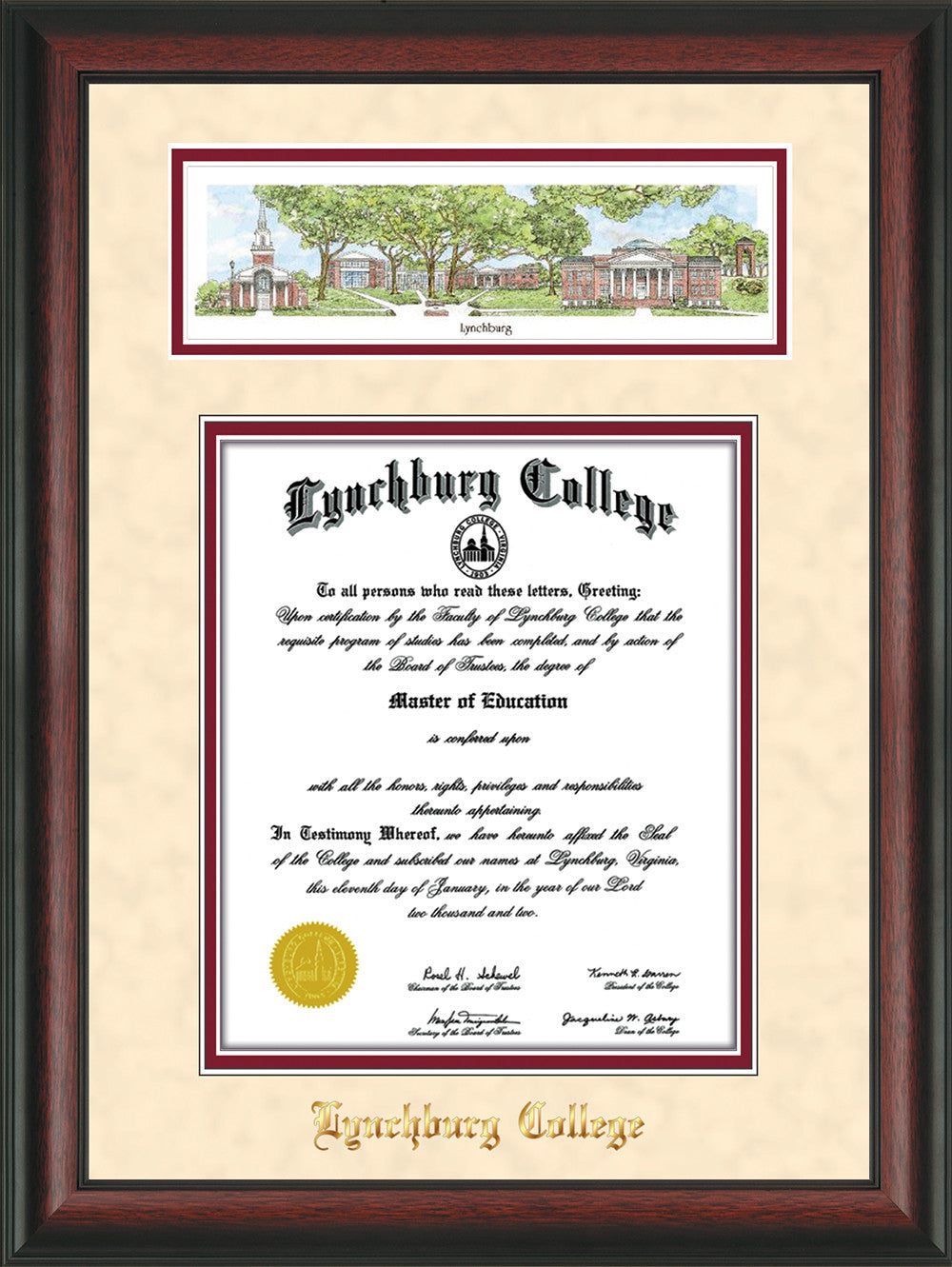 Lynchburg College Diploma Frame-Rosewood-Campus Collage-Cream Suede ...