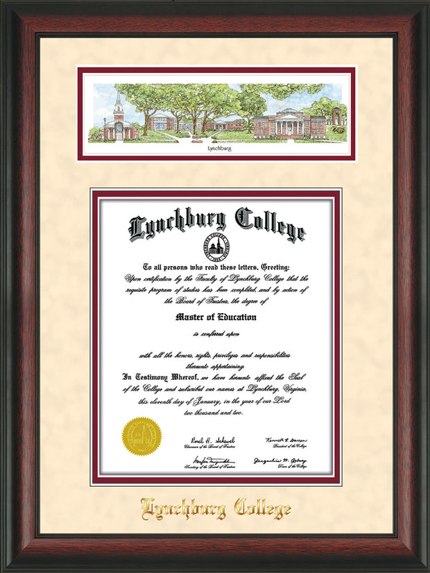 Image of Lynchburg College Diploma Frame - Rosewood - w/Embossed School Name Only - Campus Collage - Cream Suede on Crimson mat
