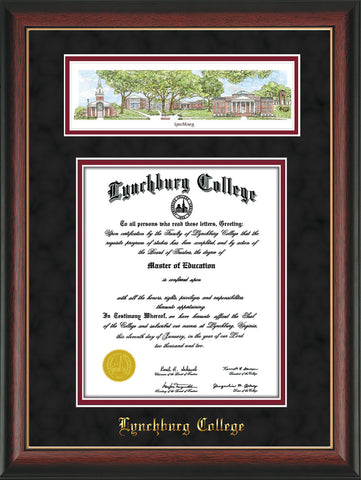 Image of Lynchburg College Diploma Frame - Rosewood w/Gold Lip - w/Embossed School Name Only - Campus Collage - Black Suede on Crimson mat