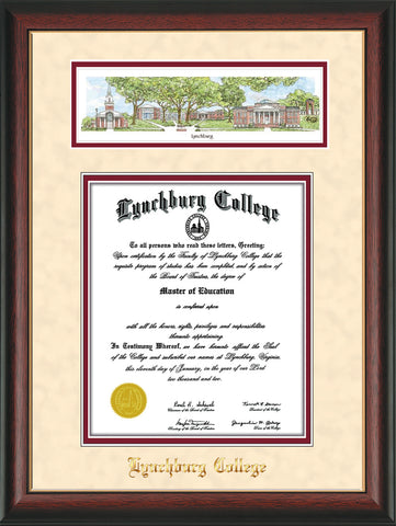 Image of Lynchburg College Diploma Frame - Rosewood w/Gold Lip - w/Embossed School Name Only - Campus Collage - Cream on Crimson mat