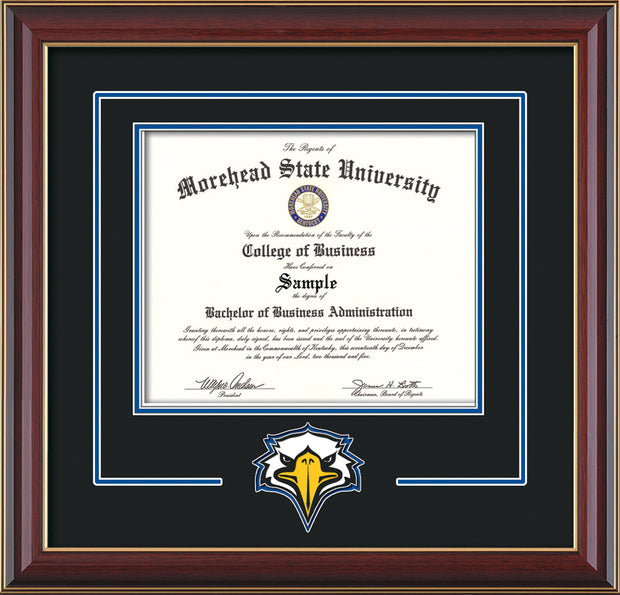 Image of Morehead State University Diploma Frame - Cherry Lacquer - w/Laser MSU Logo Cutout - Black on Royal Blue mat