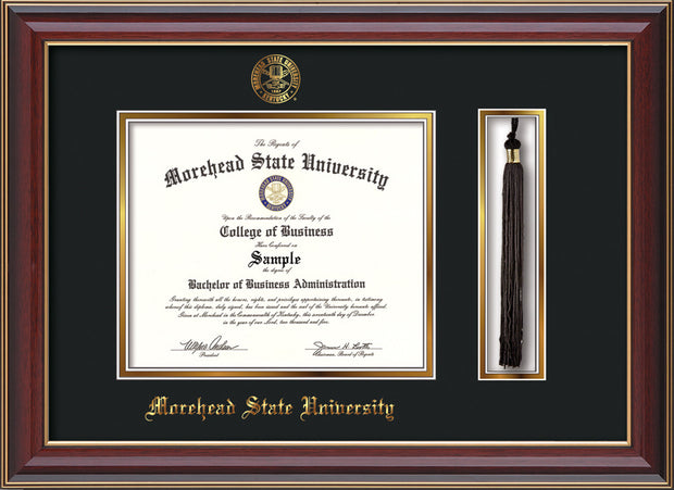 Image of Morehead State Univerity Diploma Frame - Cherry Lacquer - w/Embossed MSU Seal & Name - Tassel Holder - Black on Gold mat