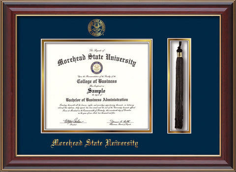 Image of Morehead State Univerity Diploma Frame - Cherry Lacquer - w/Embossed MSU Seal & Name - Tassel Holder - Navy on Gold mat