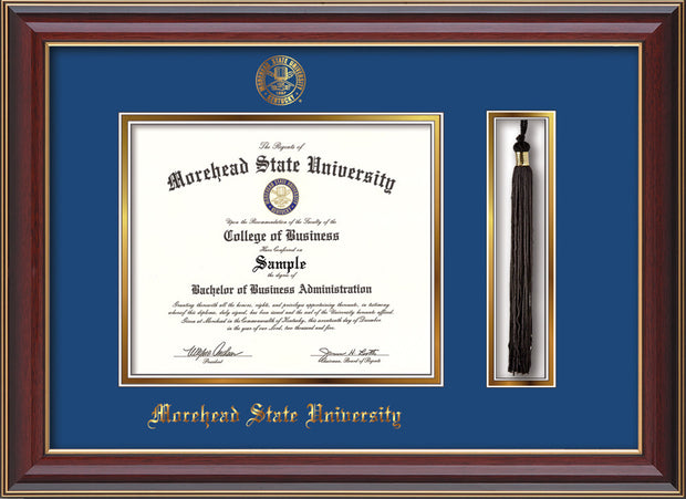 Image of Morehead State Univerity Diploma Frame - Cherry Lacquer - w/Embossed MSU Seal & Name - Tassel Holder - Royal Blue on Gold mat