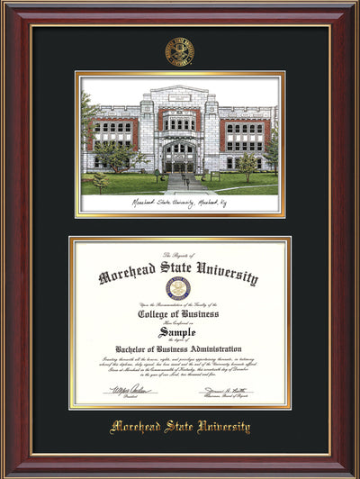 Image of Morehead State Univerity Diploma Frame - Cherry Lacquer - w/Embossed MSU Seal & Name - Watercolor - Black on Gold mat