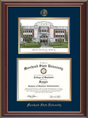 Image of Morehead State Univerity Diploma Frame - Cherry Lacquer - w/Embossed MSU Seal & Name - Watercolor - Navy on Gold mat