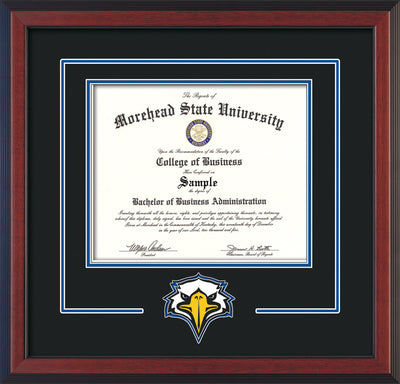 Image of Morehead State University Diploma Frame - Cherry Reverse - w/Laser MSU Logo Cutout - Black on Royal Blue mat