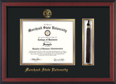 Image of Morehead State Univerity Diploma Frame - Cherry Reverse - w/Embossed MSU Seal & Name - Tassel Holder - Black on Gold mat