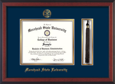 Image of Morehead State Univerity Diploma Frame - Cherry Reverse - w/Embossed MSU Seal & Name - Tassel Holder - Navy on Gold mat