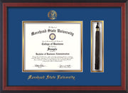 Image of Morehead State Univerity Diploma Frame - Cherry Reverse - w/Embossed MSU Seal & Name - Tassel Holder - Royal Blue on Gold mat