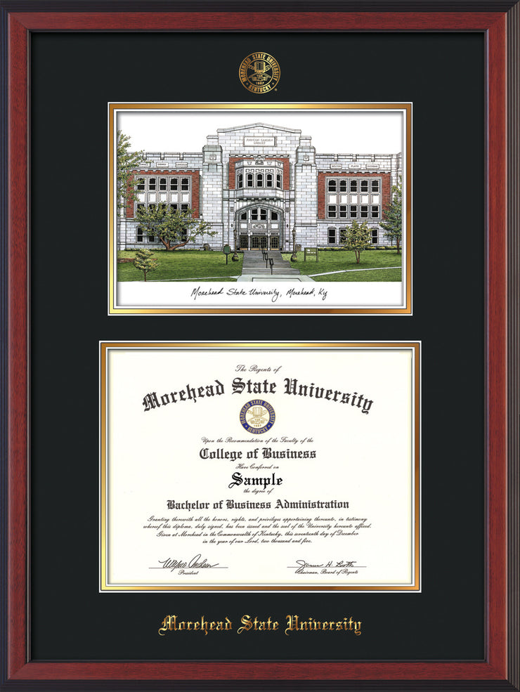Morehead State Diploma Frame Cher Reverse W Msu Watercolor Black Gold Official Diploma Frames