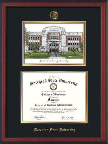 Image of Morehead State Univerity Diploma Frame - Cherry Reverse - w/Embossed MSU Seal & Name - Watercolor - Black on Gold mat