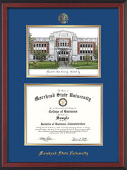 Image of Morehead State Univerity Diploma Frame - Cherry Reverse - w/Embossed MSU Seal & Name - Watercolor - Royal Blue on Gold mat