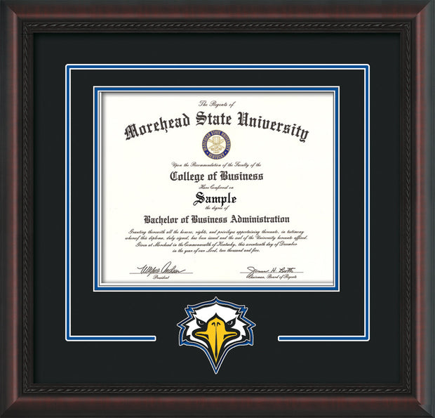 Image of Morehead State University Diploma Frame - Mahogany Braid - w/Laser MSU Logo Cutout - Black on Royal Blue mat