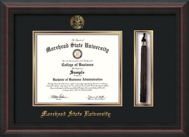 Image of Morehead State Univerity Diploma Frame - Mahogany Braid - w/Embossed MSU Seal & Name - Tassel Holder - Black on Gold mat