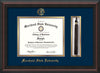 Image of Morehead State Univerity Diploma Frame - Mahogany Braid - w/Embossed MSU Seal & Name - Tassel Holder - Navy on Gold mat