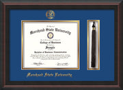 Image of Morehead State Univerity Diploma Frame - Mahogany Braid - w/Embossed MSU Seal & Name - Tassel Holder - Royal Blue on Gold mat