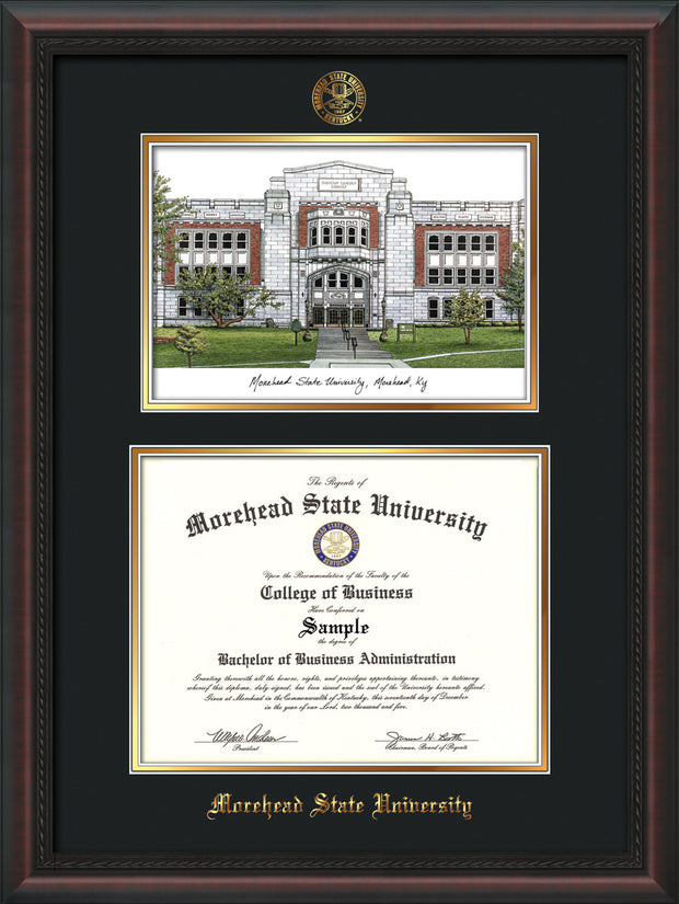 Image of Morehead State Univerity Diploma Frame - Mahogany Braid - w/Embossed MSU Seal & Name - Watercolor - Black on Gold mat