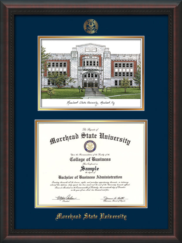 Image of Morehead State Univerity Diploma Frame - Mahogany Braid - w/Embossed MSU Seal & Name - Watercolor - Navy on Gold mat
