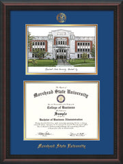 Image of Morehead State Univerity Diploma Frame - Mahogany Braid - w/Embossed MSU Seal & Name - Watercolor - Royal Blue on Gold mat